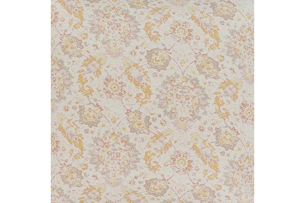 Botanical 2 Piece Twin Duvet Bedding Set, Rose/Light Gray/Mustard, large
