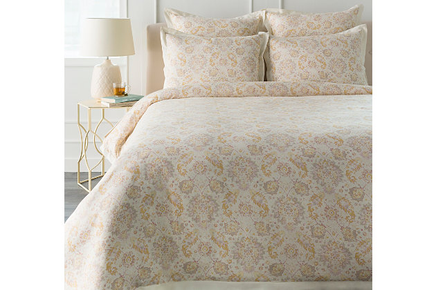 Botanical 2 Piece Twin Duvet Bedding Set, Rose/Light Gray/Mustard, large
