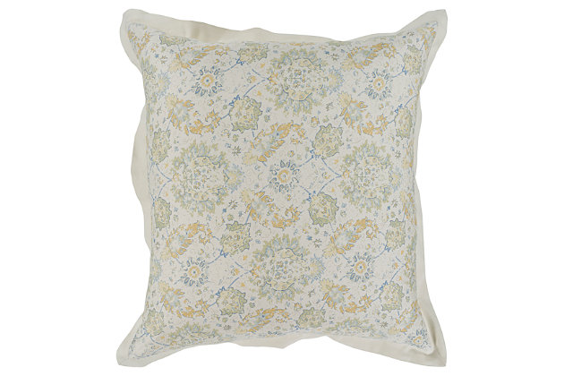 Botanical Euro Sham, Sage/Mustard/Ice Blue, large