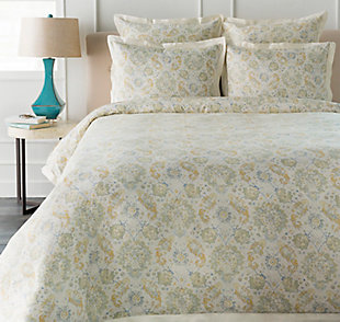 Botanical 3 Piece Full/Queen Duvet Bedding Set, Sage/Mustard/Ice Blue, large