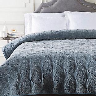 Paisley King/King CA Quilt, Medium Gray, large