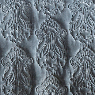 Paisley Twin Quilt, Medium Gray, rollover