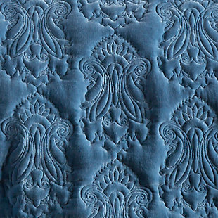 Paisley Full/Queen Quilt, Blue, large