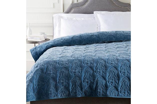 Paisley Twin Quilt, Medium Gray, large