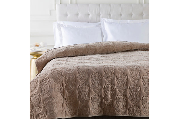 Paisley Full/Queen Quilt, Taupe, large