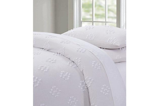 Geometric Cottage Classic Cotton Duvet Set, White, large