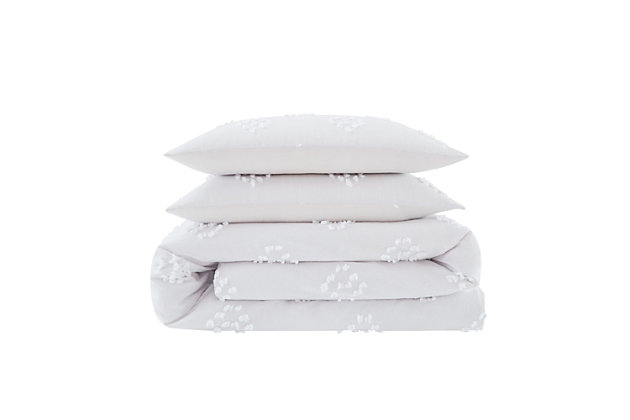 3 Piece Full or Queen Cottage Classics French Country Cotton Duvet Set, White, large