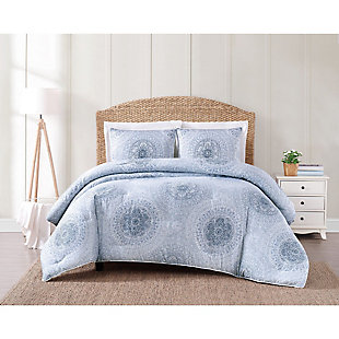 Geometric Cotton Comforter Set, Blue, large