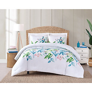 2 Piece Twin XL Oceanfront Resort Tropical Bungalow Comforter Set, White, rollover