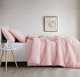 Geometric Woven Full/Queen Duvet Set, Blush Pink, large