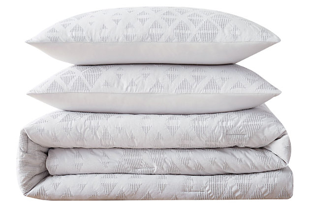 3 Piece Full or Queen Brooklyn Loom Chicago Woven Duvet Cover Set, Gray/Violet, large