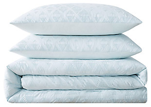 3 Piece King Brooklyn Loom Chicago Woven Comforter Set, Mint, large
