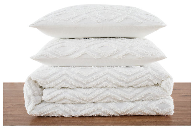 Tufted Brooklyn Loom Twin XL Comforter Set, Ivory/White, large