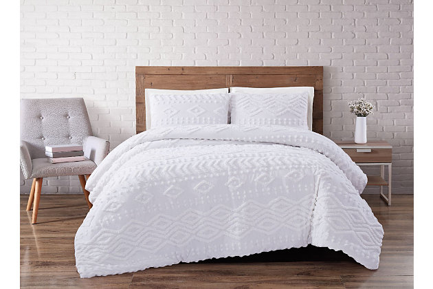 2 Piece Twin XL Brooklyn Loom Jameson Tufted Chenille Comforter Set, Ivory/White, large