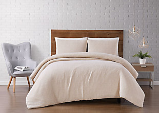 Geometric Woven King Duvet Set, Cream, rollover