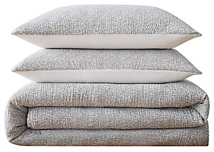 Cotton Brooklyn Loom Matelasse Full/Queen Duvet Cover Set, Gray, large