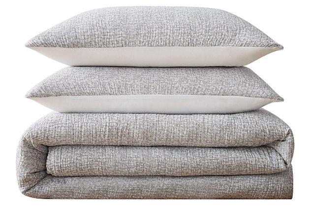 Cotton Brooklyn Loom Matelasse Full/Queen Duvet Cover Set, Gray, large