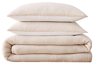 3 Piece Full or Queen Brooklyn Loom Solid Woven Matelasse Natural Duvet Cover Set, Cream, large