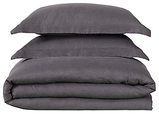 3 Piece Full or Queen Brooklyn Loom Linen Charcoal Duvet Set, Charcoal, large