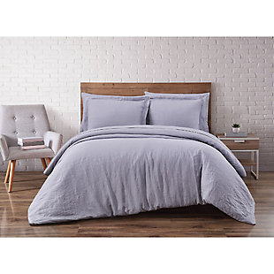 Linen Brooklyn Loom Full/Queen Duvet Set, Gray, rollover