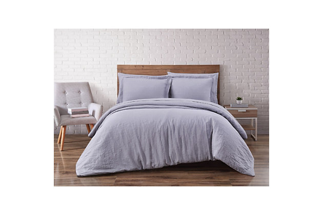 3 Piece Full or Queen Brooklyn Loom Linen Grey Duvet Set, Gray, large