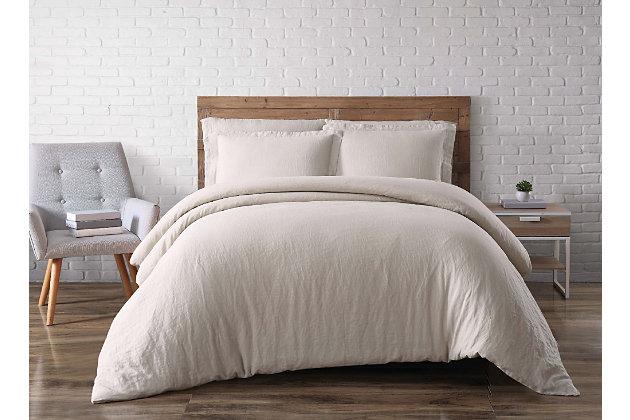3 Piece Full or Queen Brooklyn Loom Linen Natural Duvet Set, Cream, large