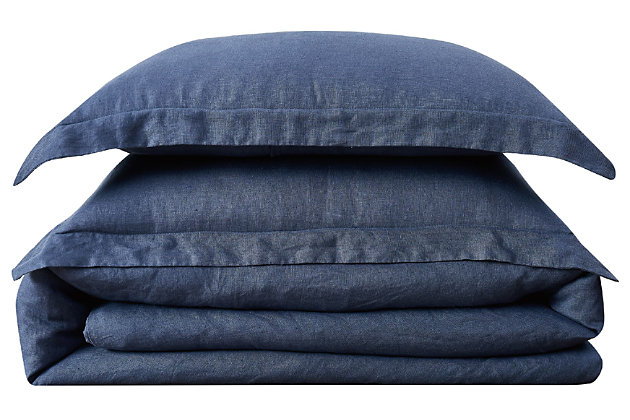 Linen Brooklyn Loom King Duvet Set, Navy Blue, large