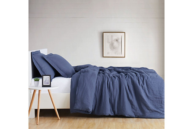 3 Piece Full or Queen Brooklyn Loom Linen Navy Duvet Set, Navy Blue, large