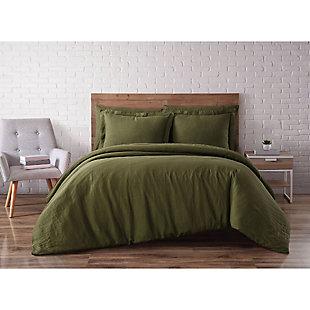 Linen Brooklyn Loom Full/Queen Duvet Set, Olive Green, large