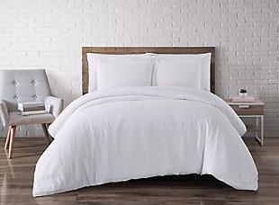 Linen Brooklyn Loom Full/Queen Duvet Set, White, large
