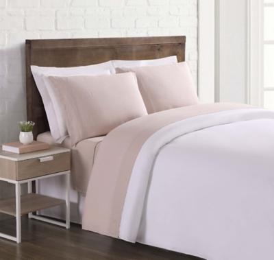 Linen Brooklyn Loom Queen Sheet Set, Blush Pink, large