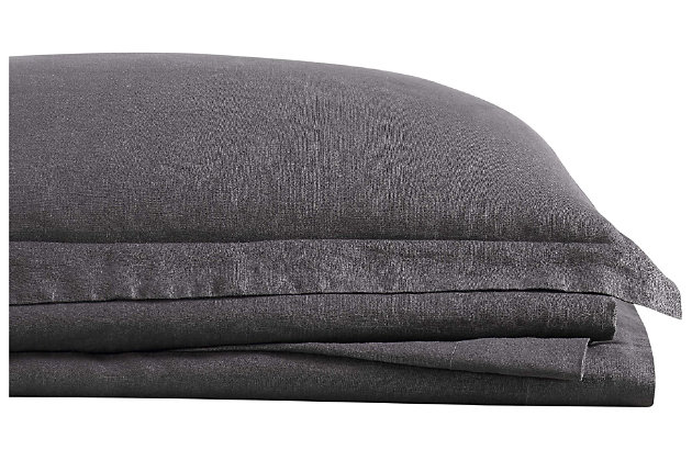 Linen Brooklyn Loom Queen Sheet Set, Charcoal, large
