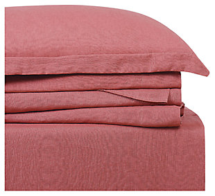 Linen Brooklyn Loom Queen Sheet Set, Dusty Rose, large