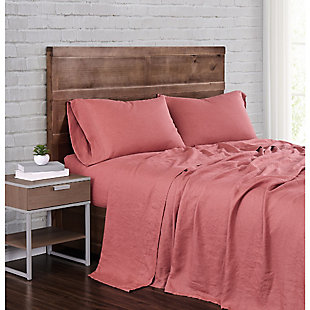 Linen Brooklyn Loom Queen Sheet Set, Dusty Rose, rollover