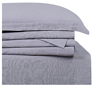 4 Piece Queen Brooklyn Loom Linen Grey Sheet Set, Gray, large