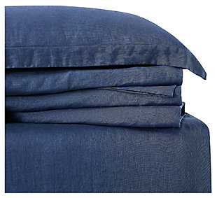 Linen Brooklyn Loom Queen Sheet Set, Navy Blue, large