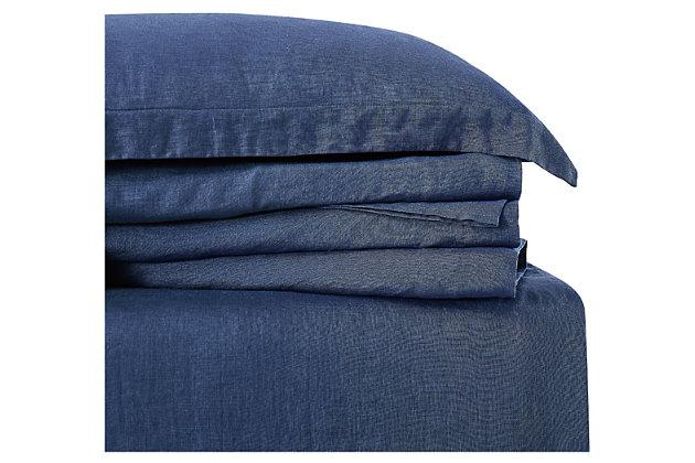 4 Piece Queen Brooklyn Loom Linen Navy Sheet Set, Navy Blue, large