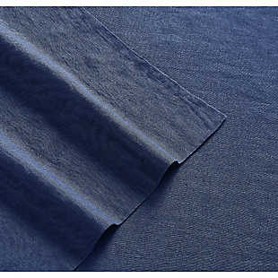 Linen Brooklyn Loom Queen Sheet Set, Navy Blue, rollover