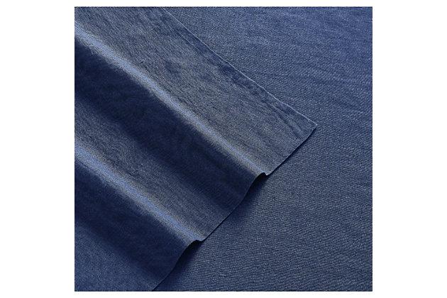 Linen Brooklyn Loom Queen Sheet Set, Navy Blue, large