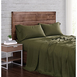Linen Brooklyn Loom Queen Sheet Set, Olive Green, large