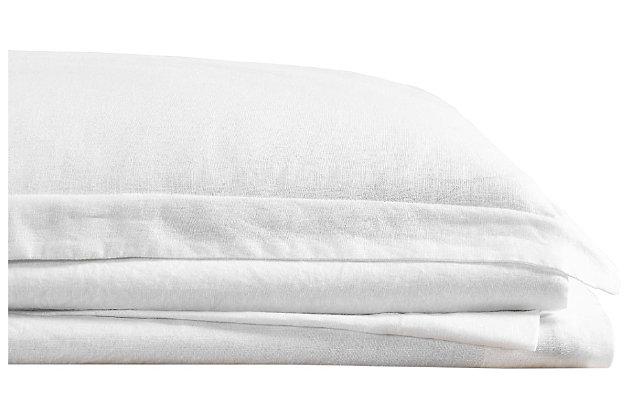 Linen Brooklyn Loom Queen Sheet Set, White, large