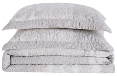 Floral Cotton Twin XL Quilt Set, Gray, large