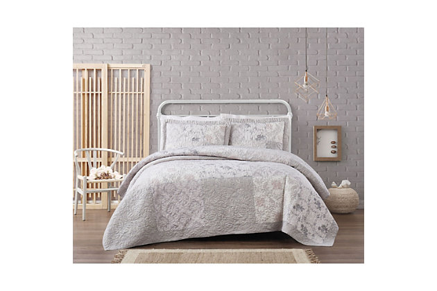 Floral Cotton Twin XL Quilt Set, Gray, large