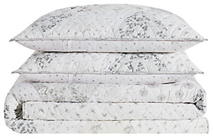 Floral Cotton Twin XL Quilt Set, Gray/White, large