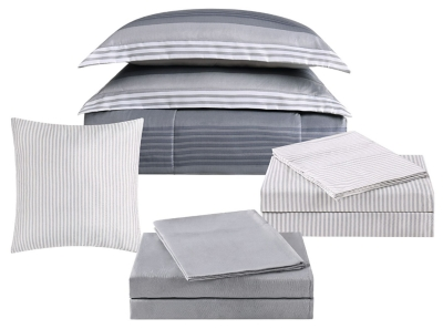 Striped 212 Carlyle Twin Bed in a Bag, Gray, large
