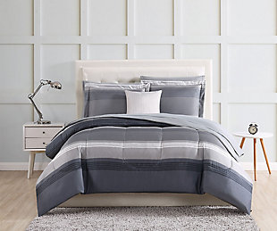Striped 212 Carlyle Twin Bed in a Bag, Gray, rollover