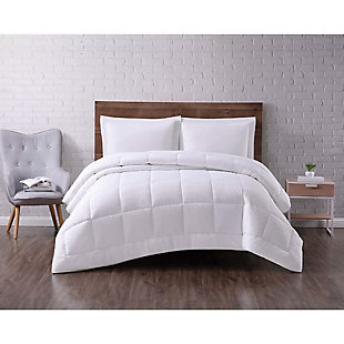 Microfiber Truly Soft Seersucker Down Alternative Twin XL Comforter, White, rollover