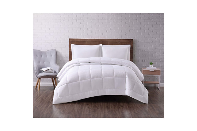 Microfiber Truly Soft Seersucker Down Alternative Twin XL Comforter, White, large