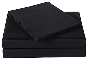 Microfiber Truly Soft Twin Sheet Set, Black, rollover