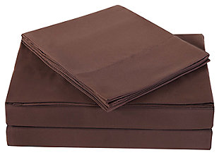 3 Piece Twin Truly Soft Everyday Brown Sheet Set, Chocolate, large